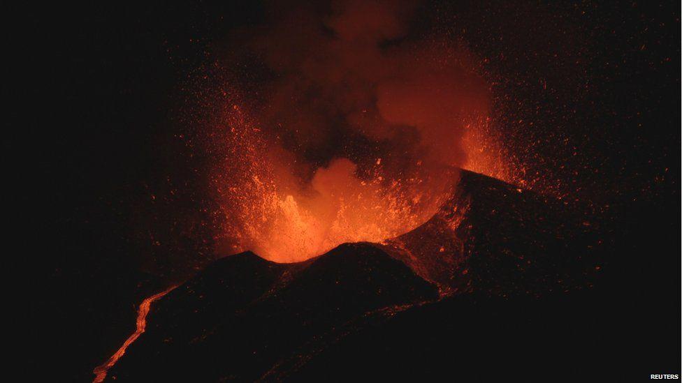 Volcano Pico do Fogo erupting