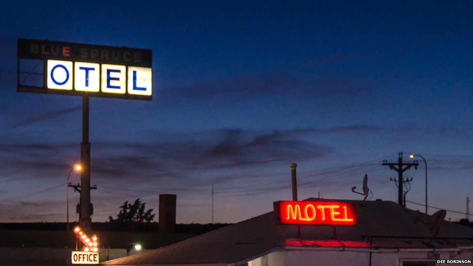 Motel signs on Route 66 in the US