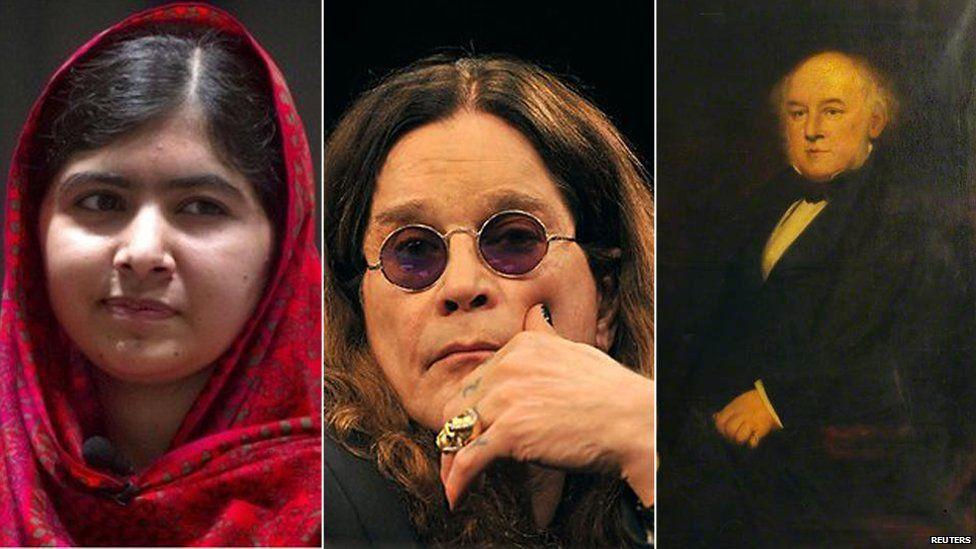 Malala, Ozzy Osbourne, Alfred Bird