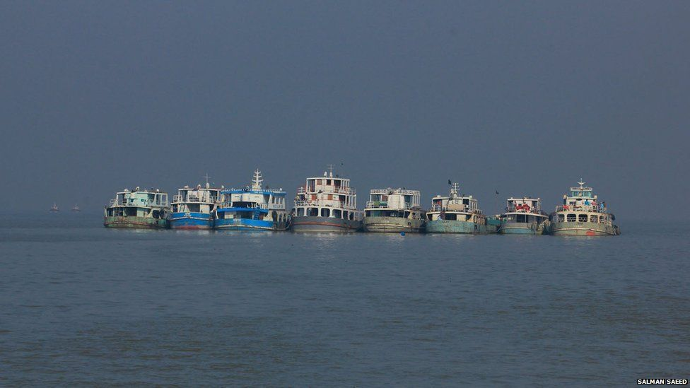 Cargo vessels waiting on the Pashur River