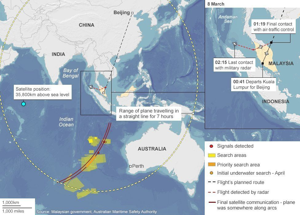 MH370 search area detailed map