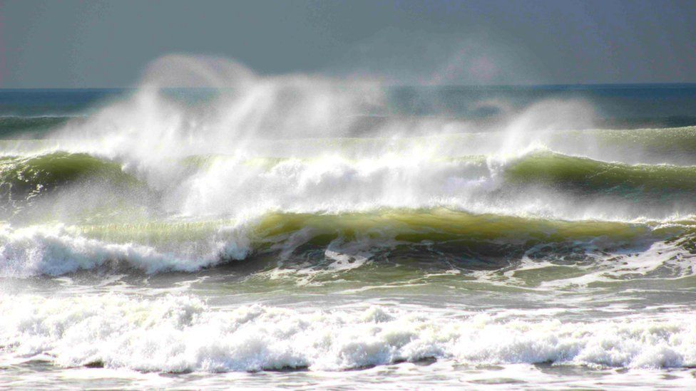 The surf at Newgale Beach in Pembrokeshire by Hannah Legg