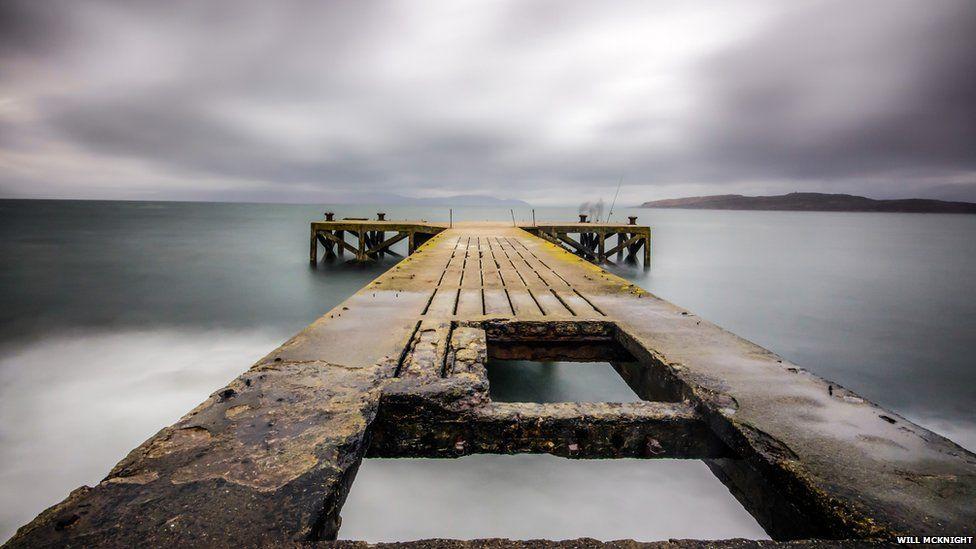 Dock in Portencross, Ayrshire in Scotland