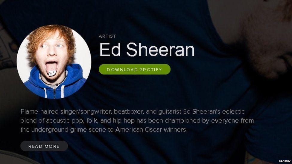 Ed Sheeran's page on Spotify