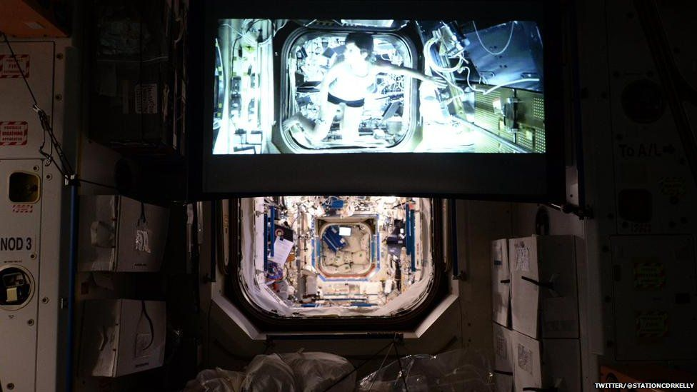 Gravity on a projector in the ISS
