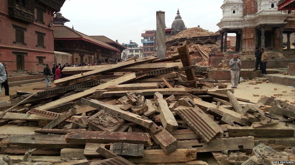 Buildings which collapsed in quake are seen at the Durbar Square in Patan, Nepal (25 Apr 2015)