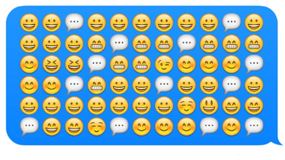 A row of smiley faces, are these replacing language?