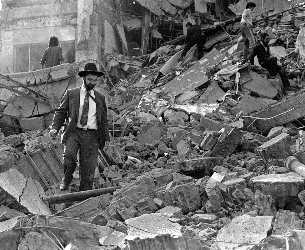 The aftermath of the bomb at the Amia Jewish community centre, 1994.