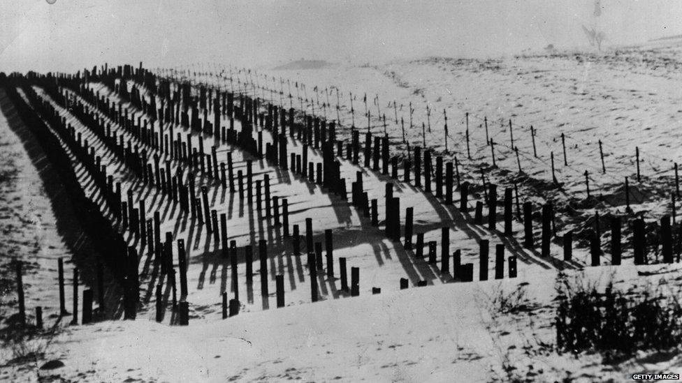 The wilderness of tank barriers in the Maginot Line, forming part of the complicated defence system that made up the Maginot Line.