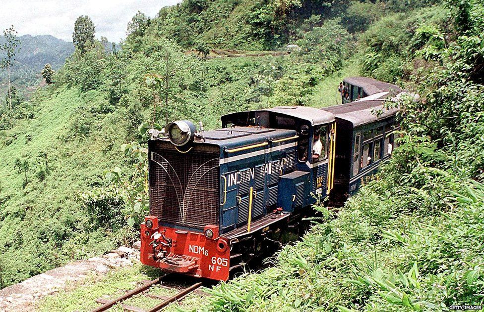 A diesel engine pulls the vintage 'toy train' running between the Himalayan hill station of Darjeeling and Siliguri