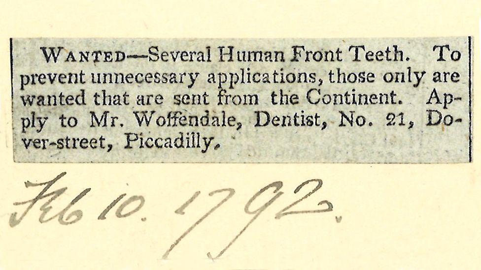 Advert calling for human teeth, 1792