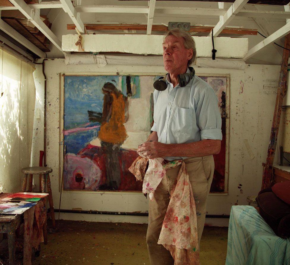 Sargy Mann in his studio