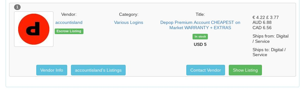 Depop accounts for sale on darkweb sceenshot