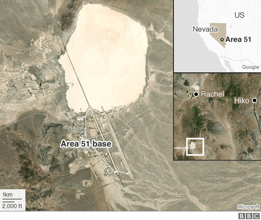 A map showing where Area 51 is in relation to the towns of Rachel and Hiko