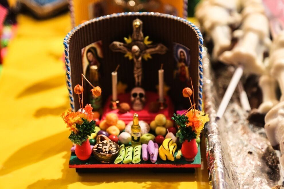 A miniature offering made out of sweets