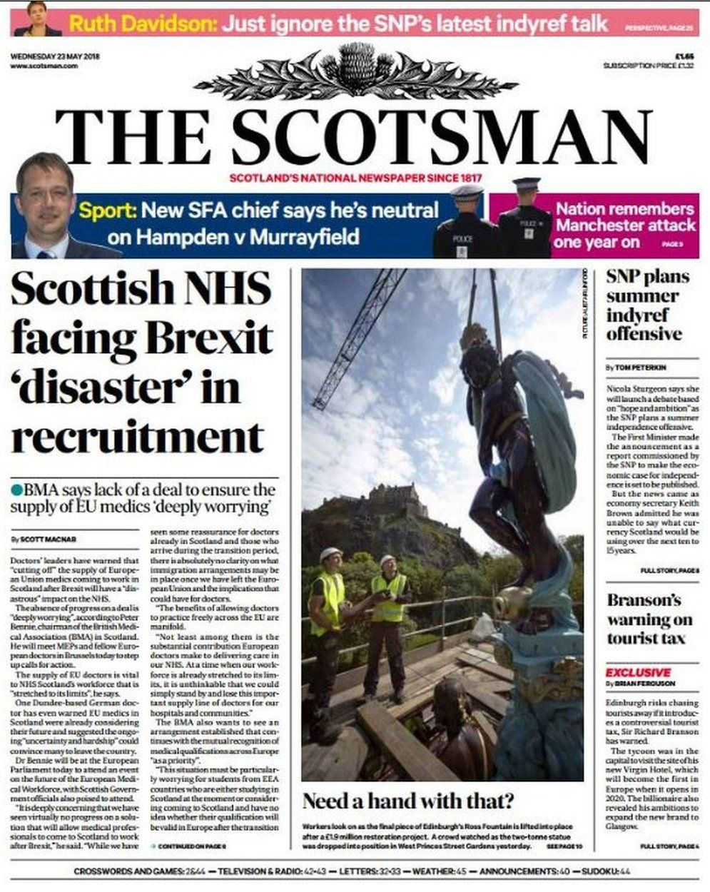 Scotland's papers: Over 65s 'forced' to work on - BBC News
