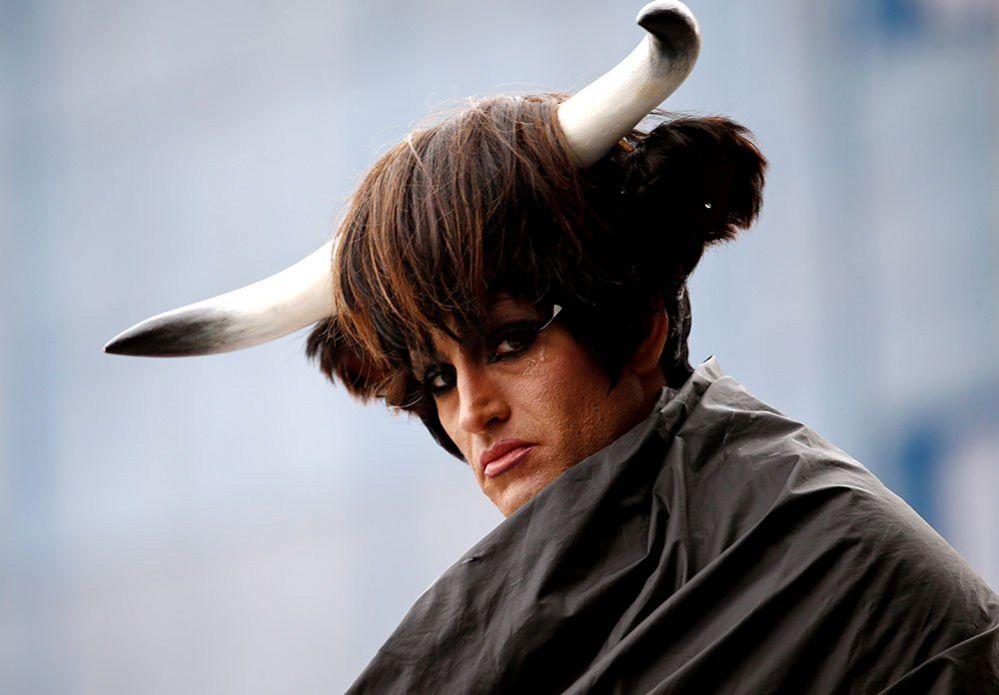 An Extinction Rebellion activist with horns