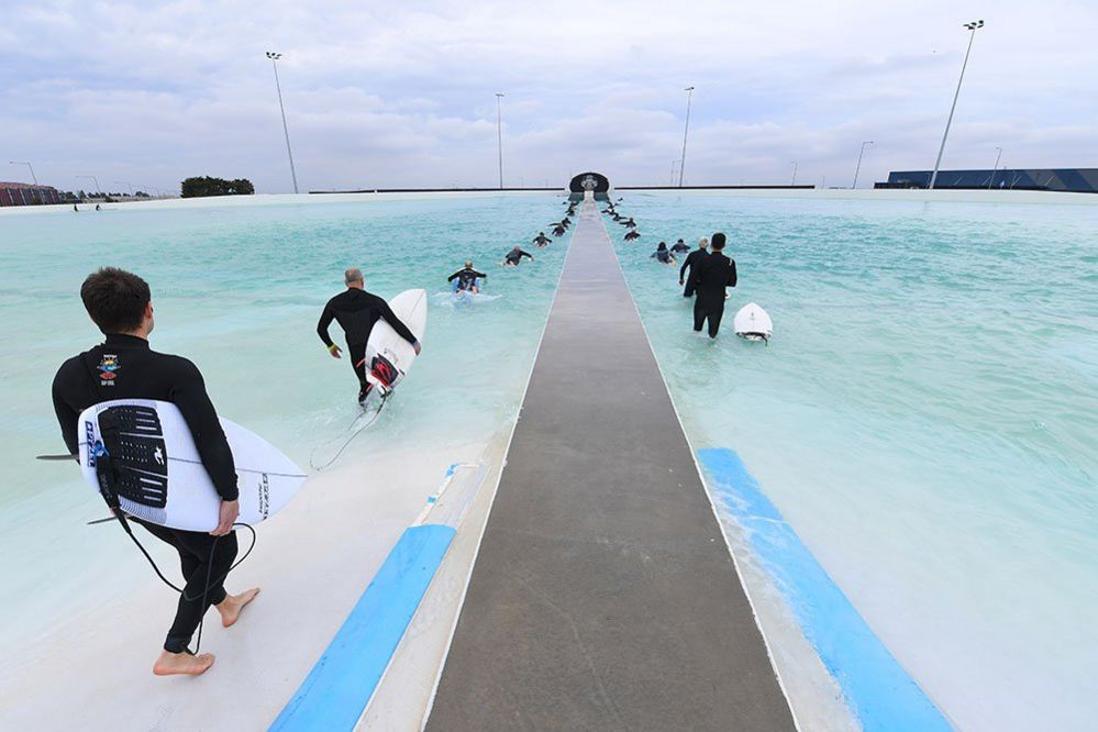 Surfers returns to the sea in Melbourne, Australia