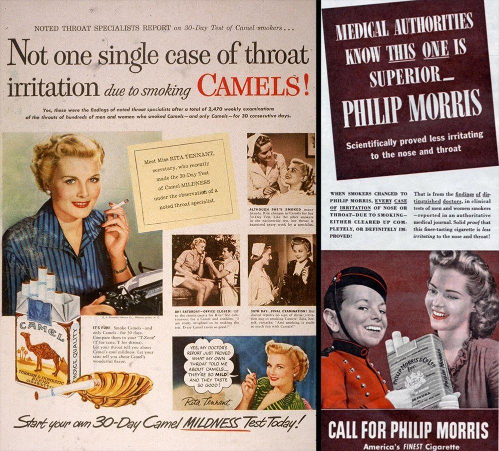 Cigarette advert, left 1950, right 1944