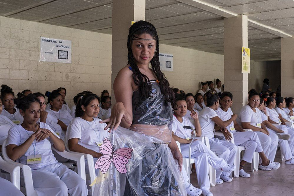 "Prisoners display their fashion creations as part of the ""Yo Cambio"" or ""I Change"" program, which attempts to rehabilitate prisoners, at the Penal Center of Quezaltepeque, El Salvador. November 9, 2018."