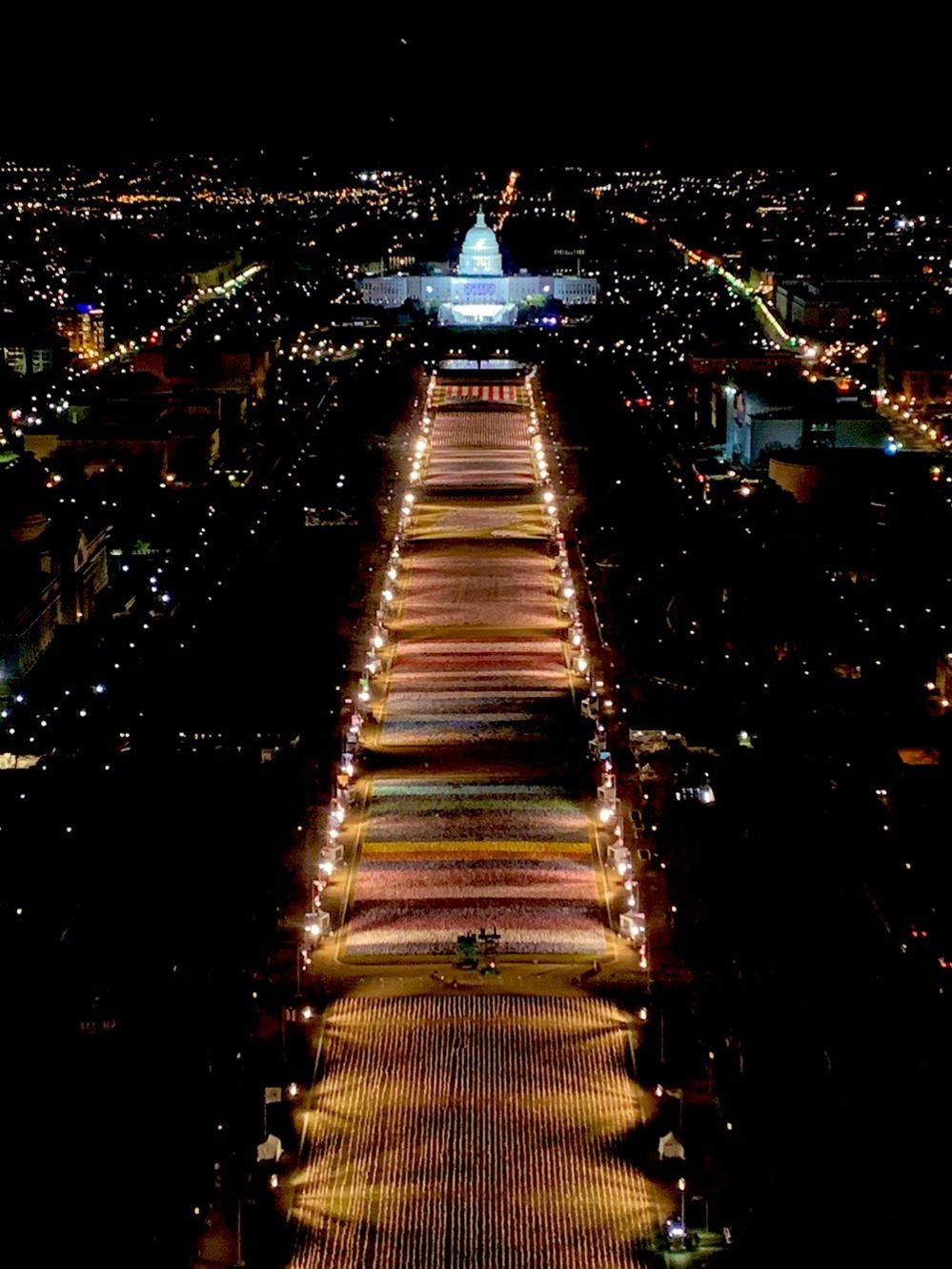 A general view of the National Mall on the eve of the inauguration