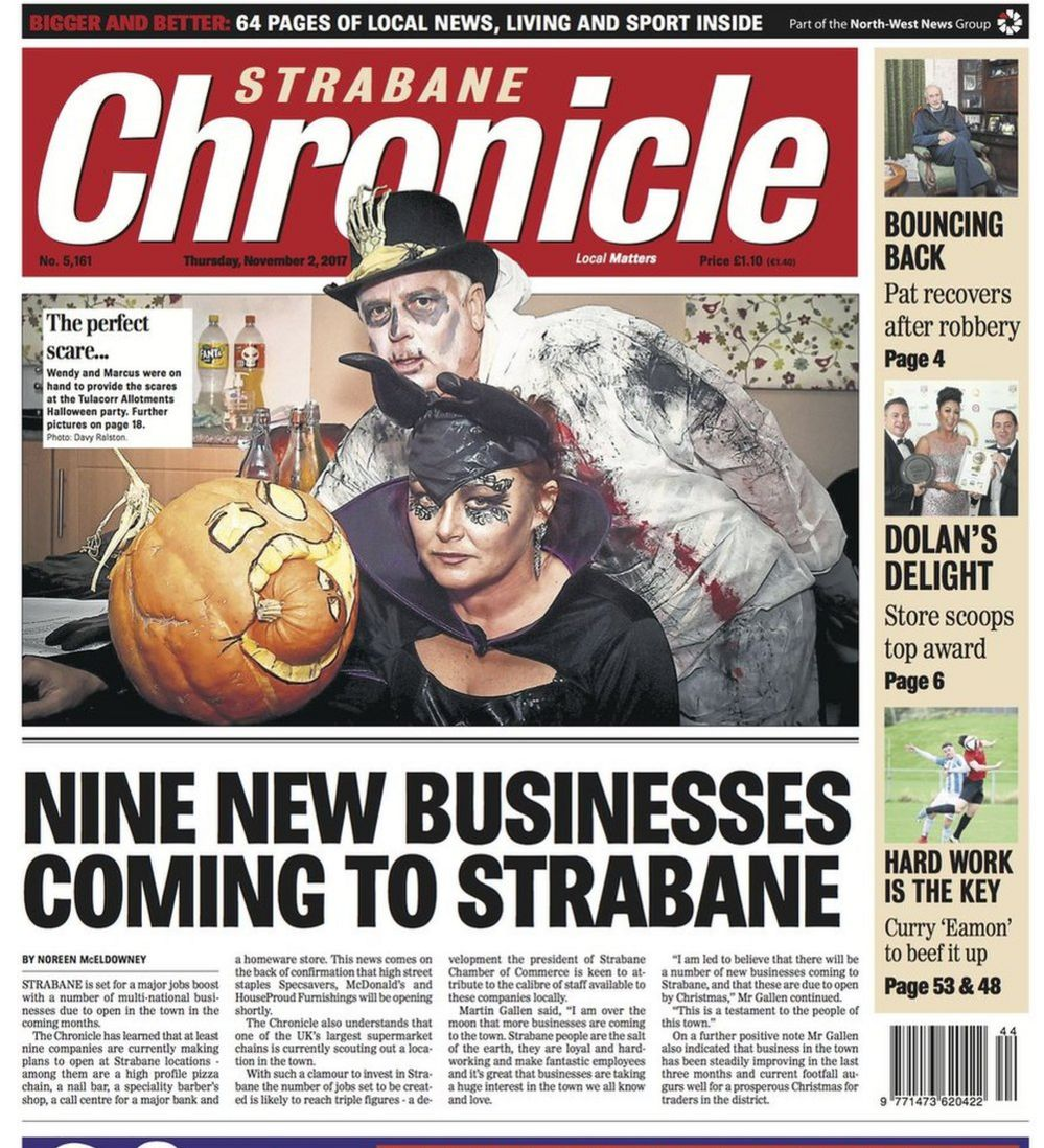 Strabane Chronicle front page 03/11/17