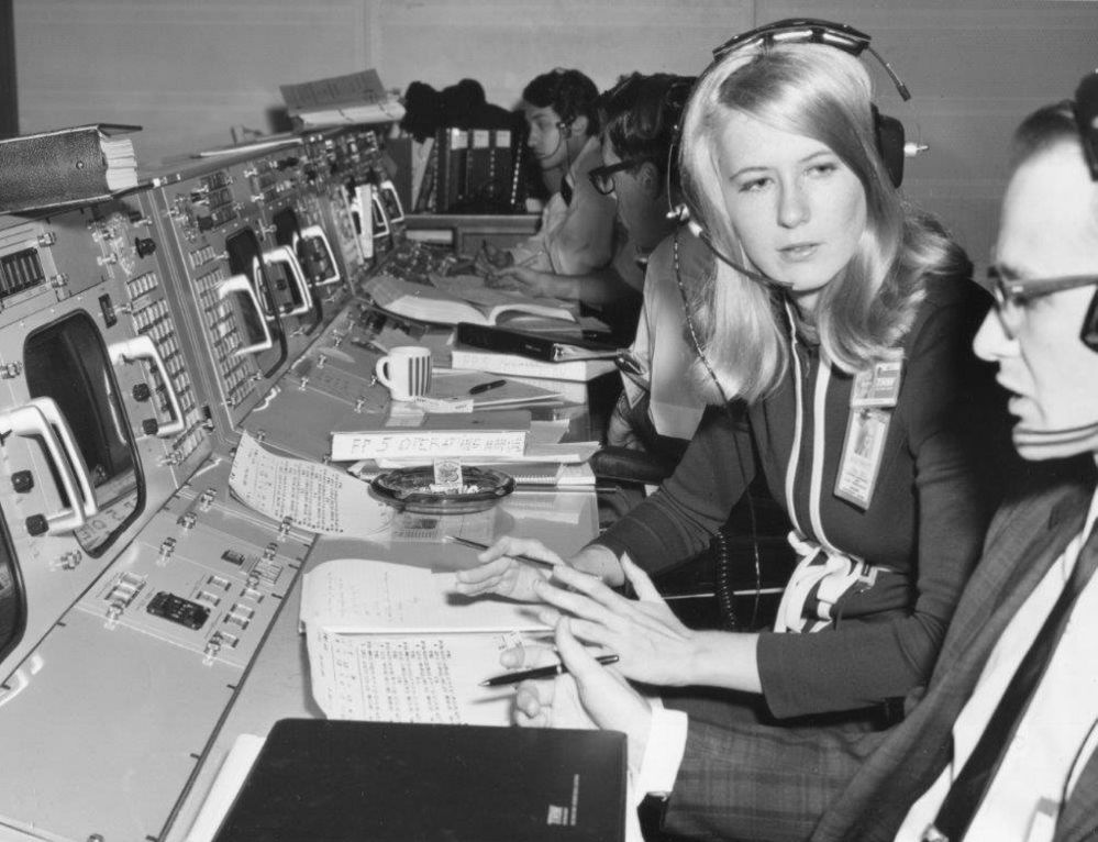Frances 'Poppy' Northcutt + colleagues Apollo 8 Mission Control
