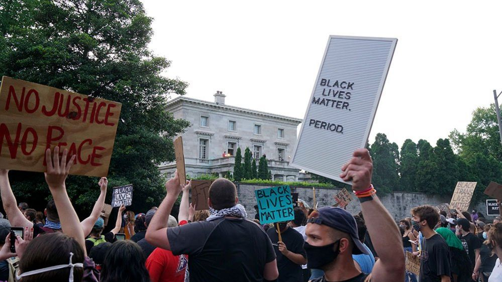 Black Lives Matter protesters gathered outside the couple's home following the incident