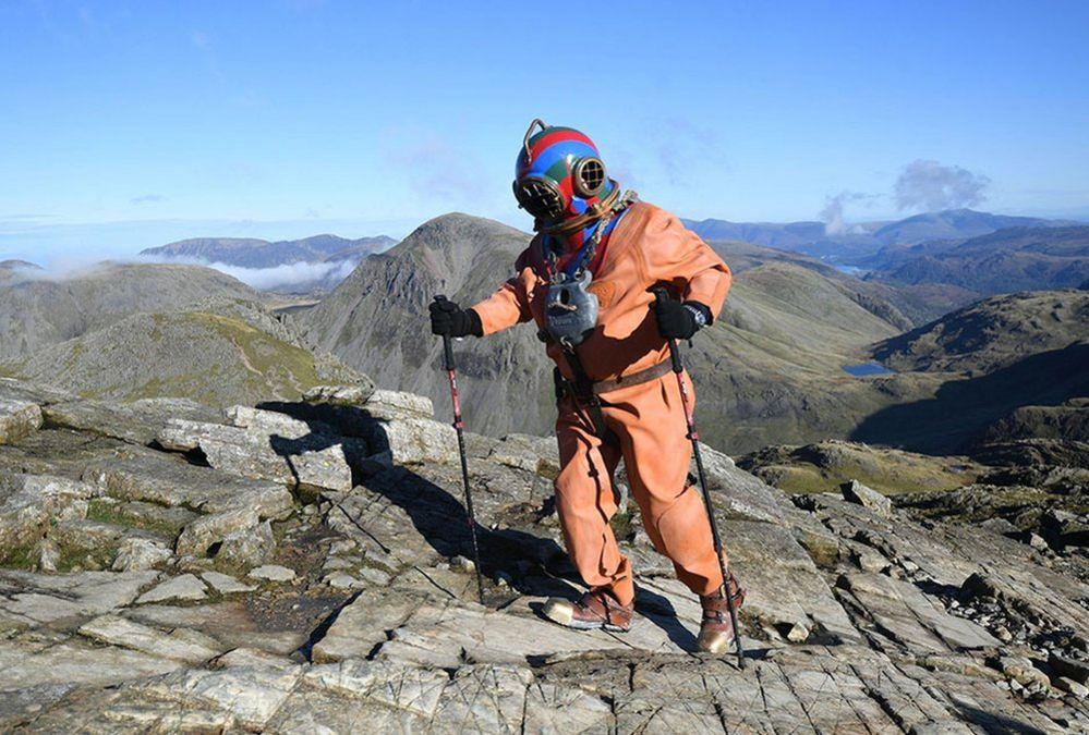 Lloyd Scott climbing Scafell Pike