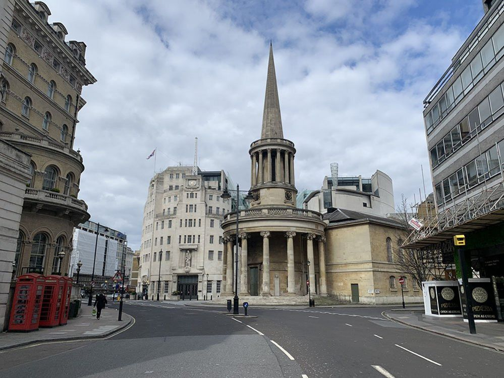 BBC Broadcasting House behind All Souls Langham Place Church