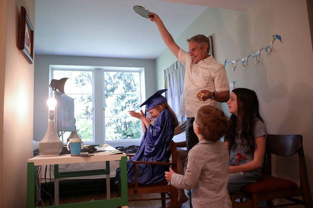 A graduation ceremony at home
