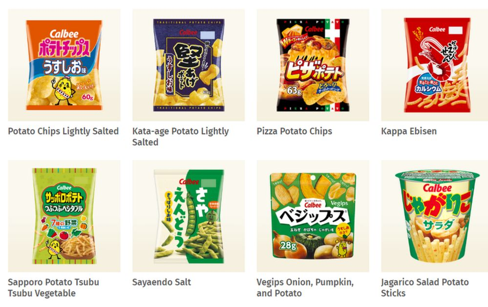 Calbee products sold in Japan displayed on its website