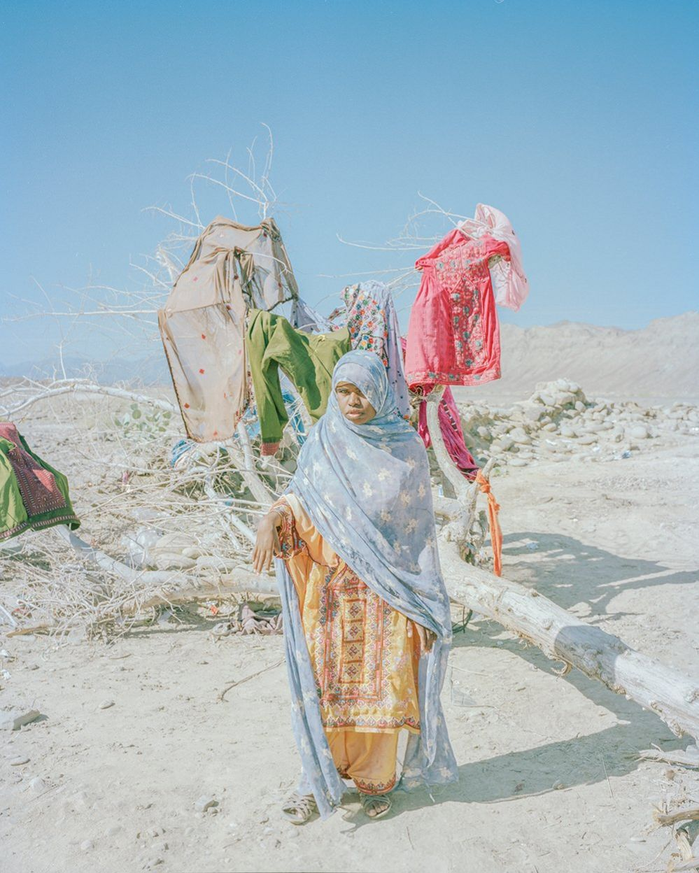 Young girl drying clothes on dead tree