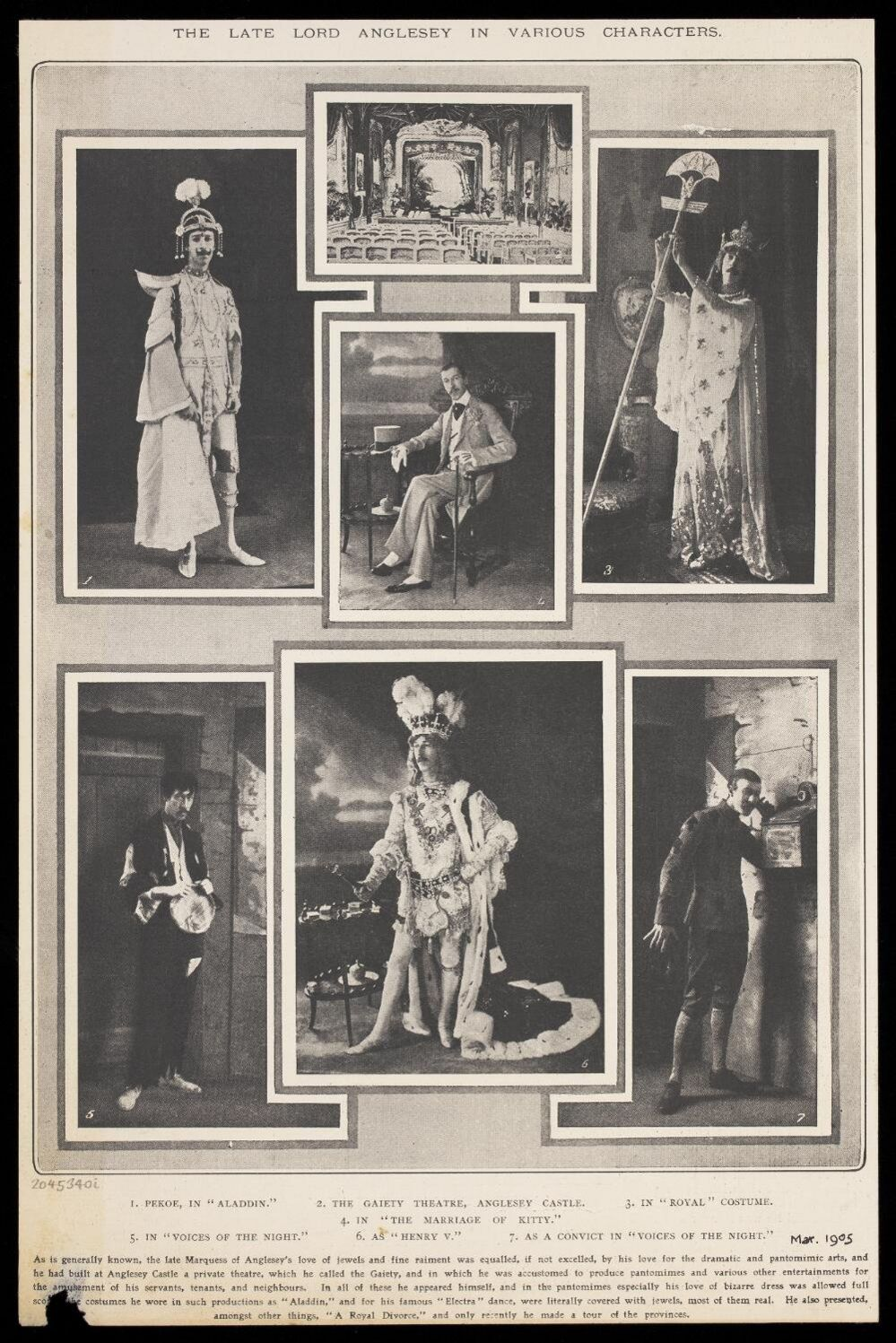 Various poses of Marquess of Anglesey in costume