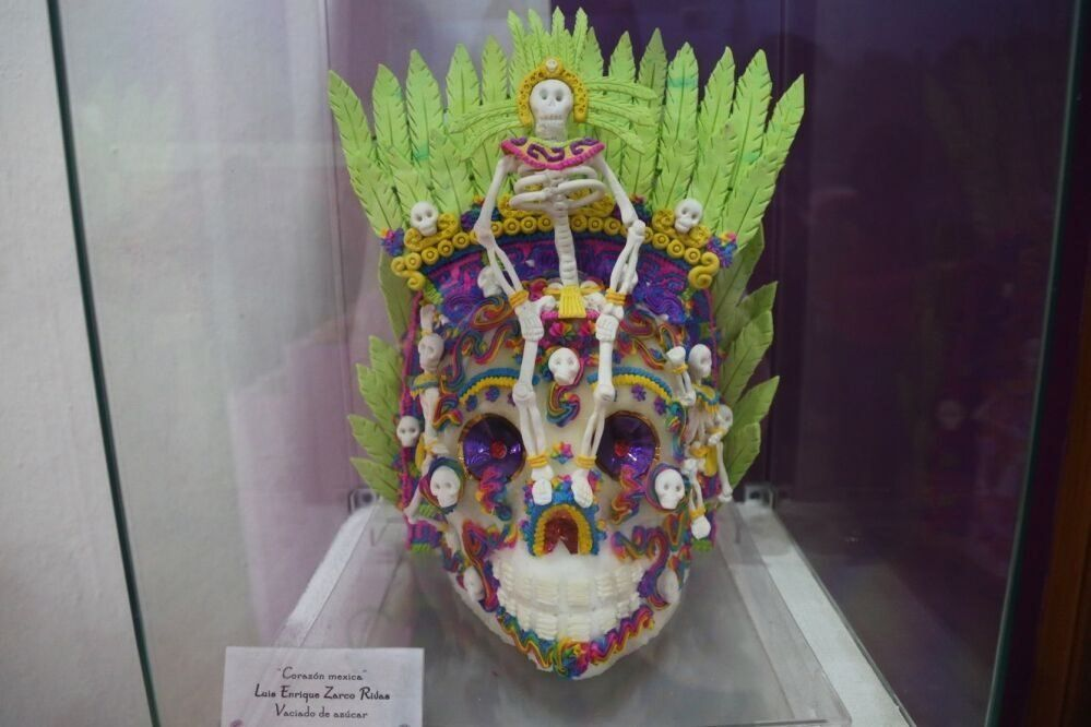 An elaborately decorated sugar skull from last year's Alfenique in Toluca