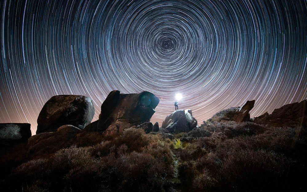 Star trail over Ramshaw Rocks in the Staffordshire Moorlands, Staffordshire