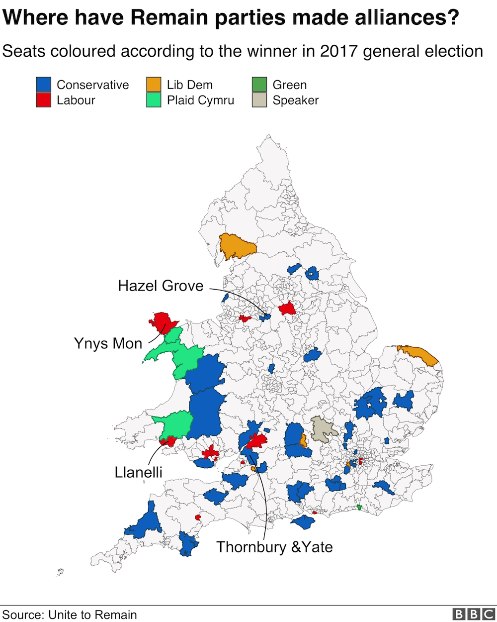 Map of seats affected by the Remain pact