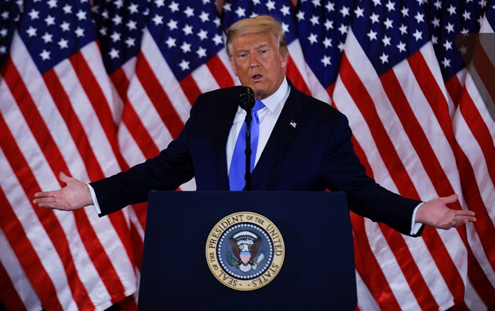 President Donald Trump speaking at the White House