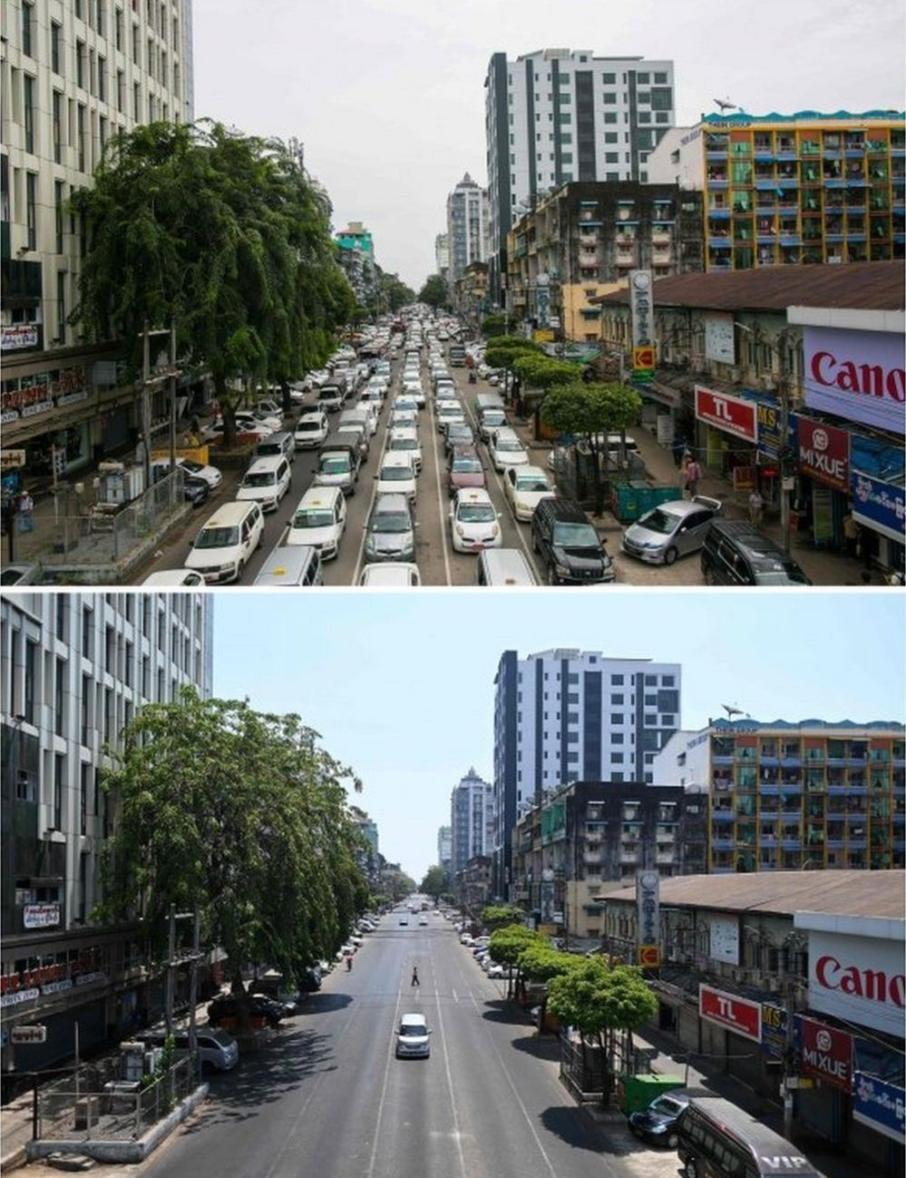 Traffic in central Yangon on 19 September, 2019 (top) and a car travelling along the same road on 12 April, 2020