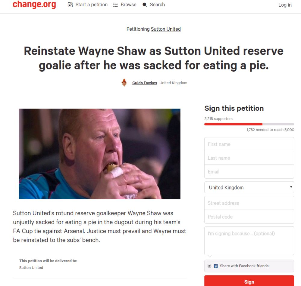 Screengrab of Wayne Shaw reinstatement petition from change.org