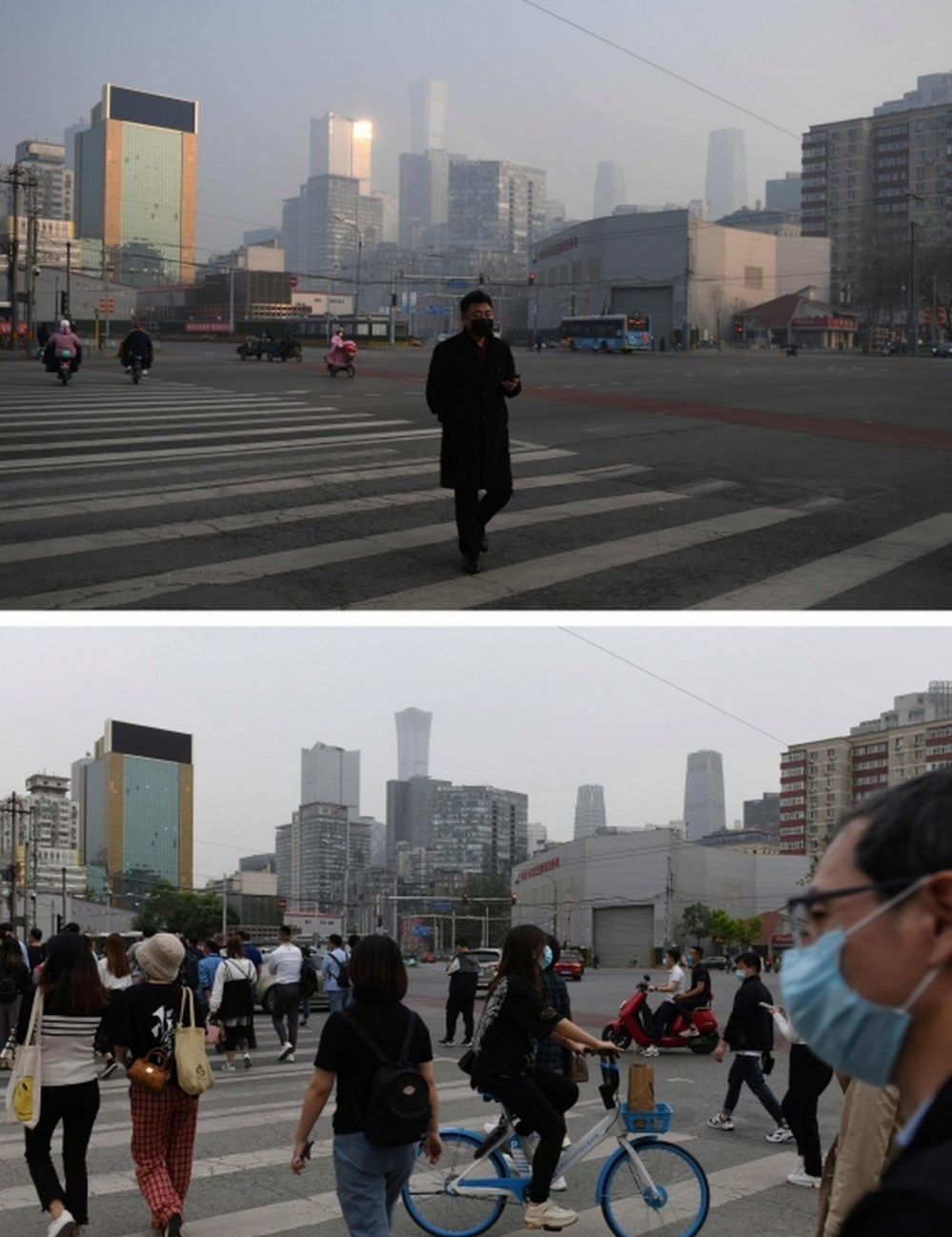 A man crosses a normally busy intersection in Beijing on 11 February, 2020 (top) and people on the same street on 13 May
