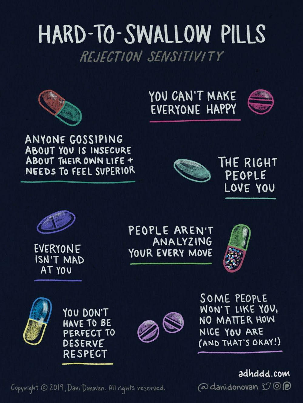 Graphic entitled 'Hard to Swallow Pills' and a sub-heading of 'rejection sensitivity'. One pink pill for 'You can't make everyone happy'; a red and green capsule for 'Anyone gossiping about you is insecure about their own life and needs to feel superior'; a green pill for 'The right people love you'; a blue pill for 'Everyone isn't mad at you'; a green and dotted pill for 'People aren't analyzing your every move'; a blue and yellow pill for 'You don't have to be perfect to deserve respect' and two purple pills for 'Some people won't like you, no matter how nice you are (and that's okay!).