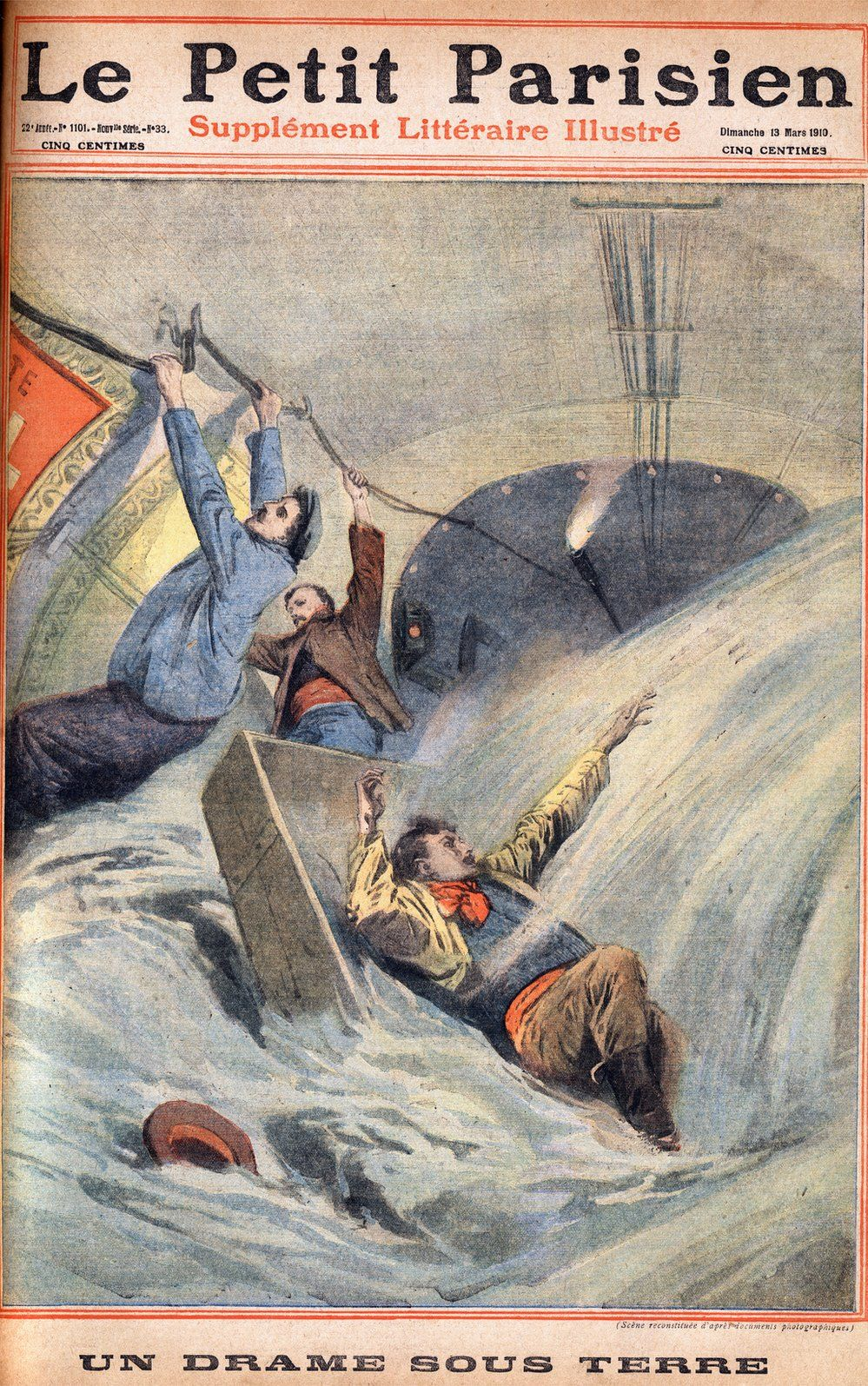 newspaper cover with cartoon of men crashing through underground tunnel through waves of water