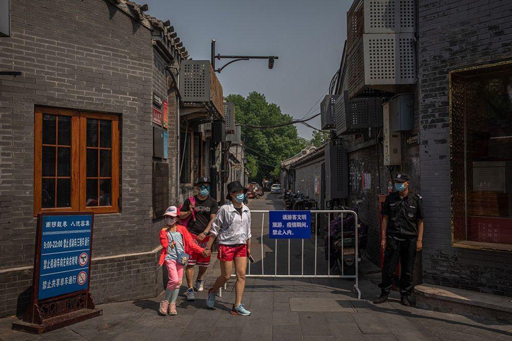 A family wearing masks in Beijing
