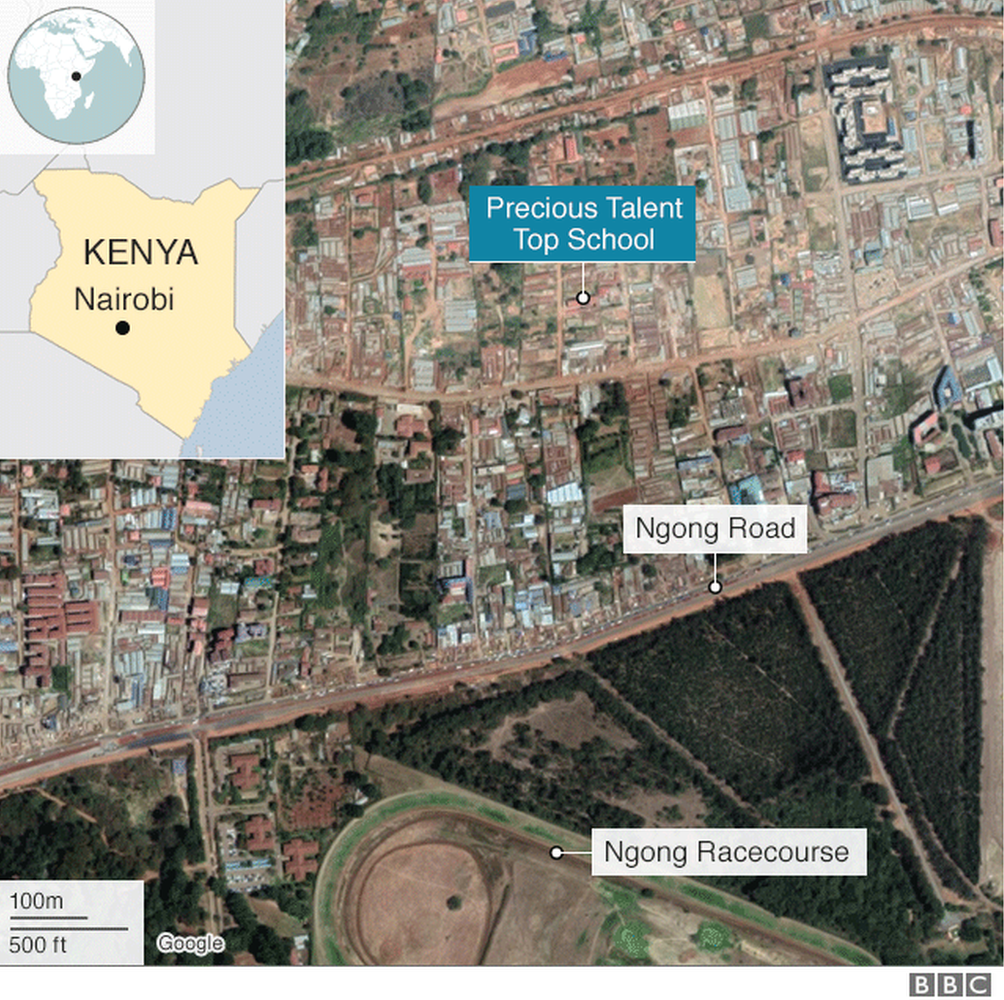 A map showing where the Precious Talent Top School is in Kenya