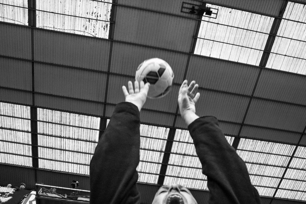 Throwing a ball on the terrace of White Hart Lane