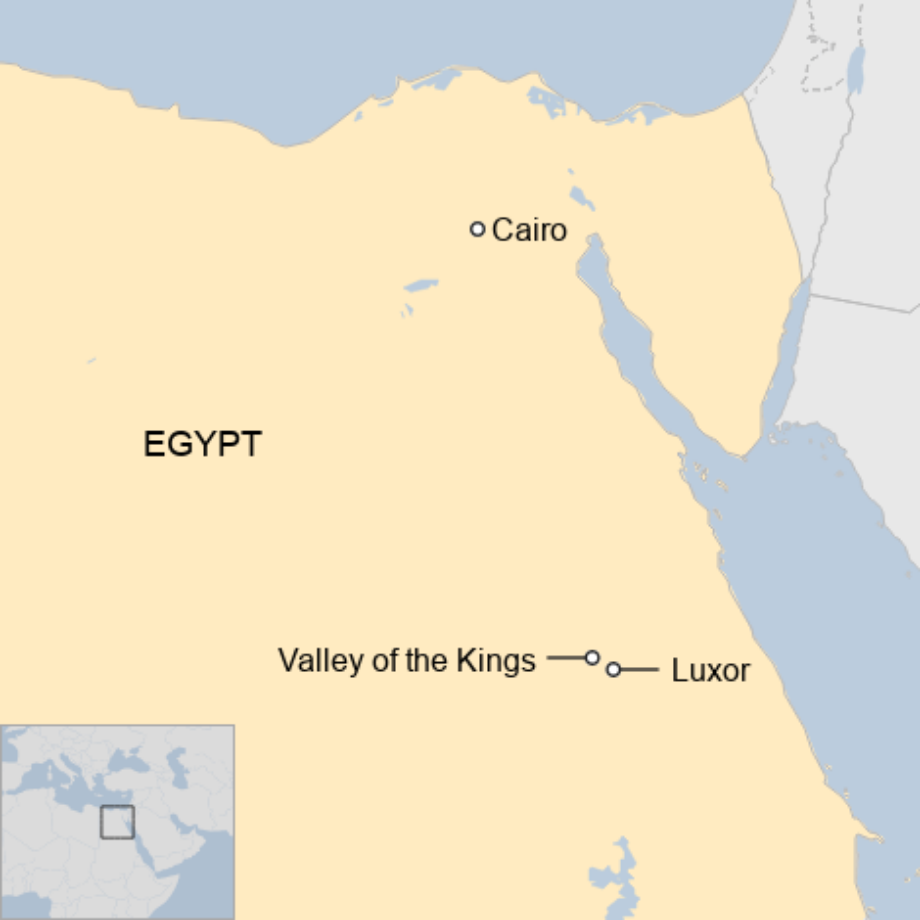 Map: A map showing where Luxor is in Egypt.