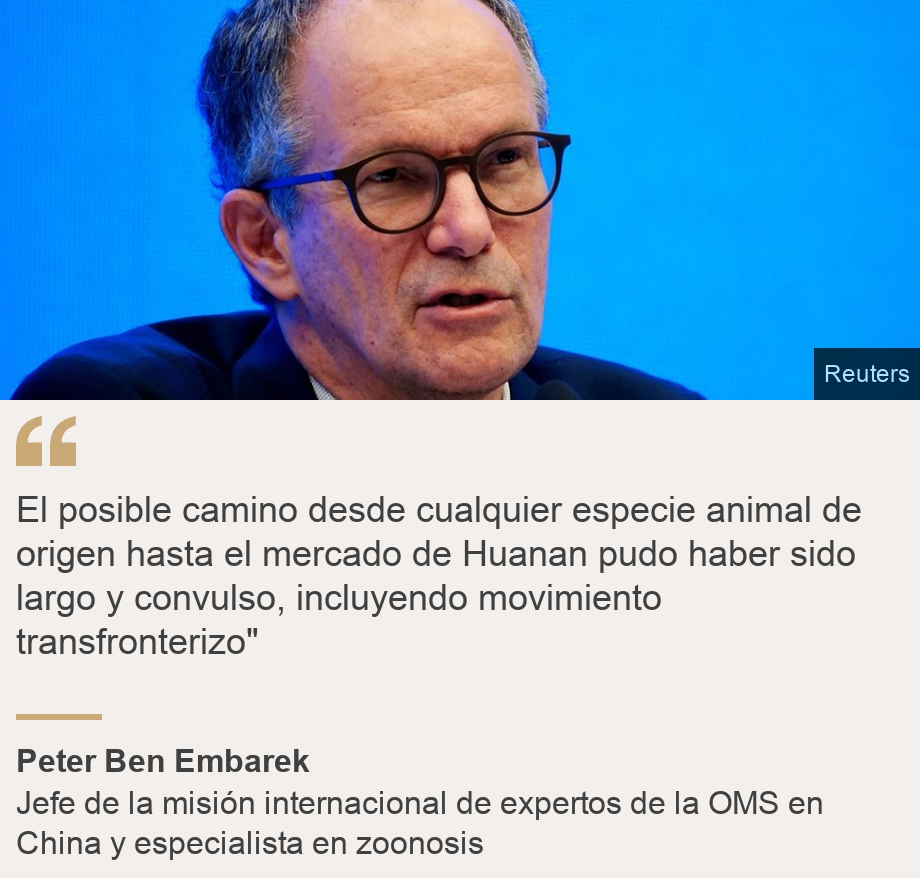"""El posible camino desde cualquier especie animal de origen hasta el mercado de Huanan pudo haber sido largo y convulso, incluyendo movimiento transfronterizo"""", Source: Peter Ben Embarek, Source description: Jefe de la misión internacional de expertos de la OMS en China y especialista en zoonosis, Image: Peter Embarek"