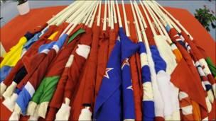 Banderas en el Campeonato Mundial de Ciclismo en Copenhague