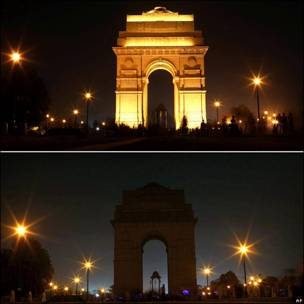 La Puerta de India antes y después de apagar las luces